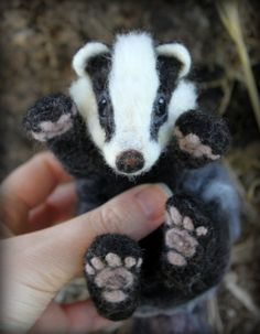 Needle felted Badger playful by Fittobeloved on Etsy