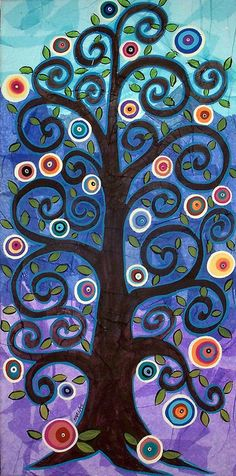 Brown Tree On Patches by Karla Gerard