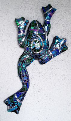 "Frog Dichroic | Kim Larson  26"" tall mosaic frog. 3D cement substrate. Dichroic and mirrored glass."