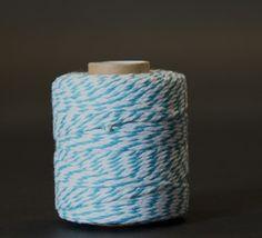 Katoentouw Turquoise/wit - Katoen touw - kadopapier.net