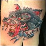 traditional wolf done Oksana Weber at Body and soul tattoo #traditionakltattoo