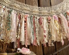 Shabby Boho Chic Blush Pink GOLD Birthday Banner Nursery Valance Crochet Lace Sparkle Sequin Garland Curtain Crib Garland Window Treatment
