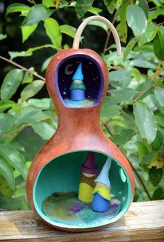 Hand-Crafted Gourd Gnome Home with Gnome Family from Beetle and Fern on Etsy