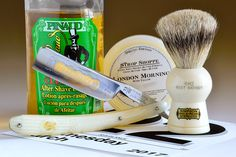 """Strop Shoppe London Morning shave soap, Simpson Keyhole badger brush, Filarmonica 13 6/8"""" straight razor, Pinaud Clubman aftershave, March 22, 2017.  ©Sarimento1"""