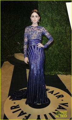 """Lily Collins.    Vanity Fair Oscars Party.    """"Zuhair Murad dress and Takat earrings """""""