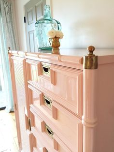 Pink Painted Faux Bamboo Furniture ~ Mary Wald's Place - Stanley Faux Bamboo Tallboy painted in Fine Paints of Europe Hollandlac… Lacquer Furniture, Painted Bedroom Furniture, Bamboo Furniture, Colorful Furniture, Upcycled Furniture, Furniture Projects, Furniture Makeover, Diy Furniture, Street Furniture