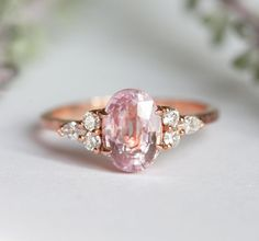 A pretty pink engagement ring would be a very unique piece of jewellery. Pink Diamond Wedding Rings, Pink Diamond Engagement Ring, Pear Cut Engagement Rings, Designer Engagement Rings, Vintage Engagement Rings, Halo Engagement, Pink Rings, Emerald Rings, Sapphire Rings