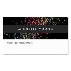COOL & UNIQUE BLACK CONFETTI Appointment Business Card