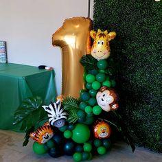 Balloon Decorations Party, Balloon Garland, Birthday Party Decorations, Wild One Birthday Party, Safari Birthday Party, Birthday Celebration, Baby Ballon, Safari Centerpieces, Balloon Bouquet Delivery