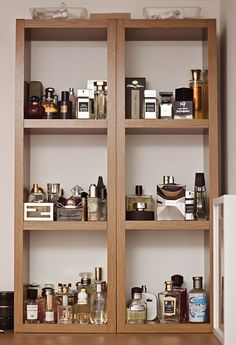 Set two 3 box shelves next to each other to display fragrance collection. Perfume cologne wall storage.