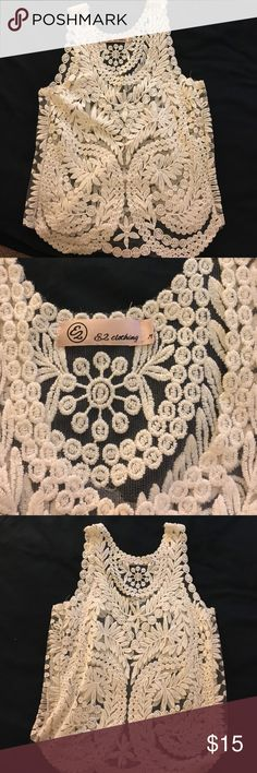 Boutique Lace Tank Never worn. Sheet with lace detailing. Fits like a small Tops Tank Tops