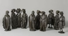 """1474-75.10 of the 24 bronze """"pleurants"""" that were part of the tomb of Isabella of Bourbon, placed in the Saint Michael's abbey of Antwerp in 1476.They have been attributed to the sculptors Renier van Thienen and Jan Borremans II.Now in the Rijksmuseum, Amsterdam."""