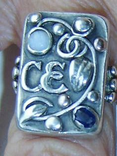 Jugendstil ring. Silver, spphire and opal. Stamped 'Handarbeit'. Sold on eBay. View 1.