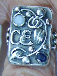 Jugendstil ring. Silver, spphire and opal. Stamped 'Handarbeit'. Sold on eBay. View 1.