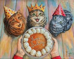 Martine Coppens – present, Belgian) at The Great Cat Happy Birthday Art, Happy Birthday Beautiful, Cat Birthday, Happy Birthday Greetings, Birthday Wishes, Fancy Cats, Cute Cats, Drawings Of Friends, Birthday Pictures