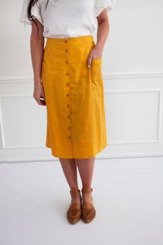 Linen Button Front Skirt / Goldenrod