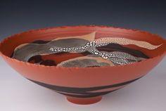 Mary Fox Bowl, Orange Terra Sigillata, Brown/White Crawl Glazes, Multifired in Oxidation