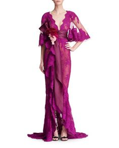 Marchesa Corded Lace Evening Gown with Cascading Ruffle Drape - Bergdorf Goodman Lovely Dresses, Beautiful Gowns, Beautiful Outfits, Gowns With Sleeves, Lace Sleeves, Marchesa, Robes Glamour, Lace Evening Gowns, 3d Rose