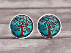 Earrings  Tree of Life 8   12mm Jewelry by MaDGreenCreations, $8.95