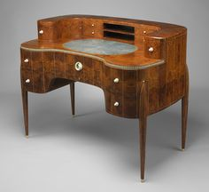 David-Weill desk, ca. 1918–19  Émile-Jacques Ruhlmann (French, 1879–1933)  Amboyna, ivory, sharkskin, silk