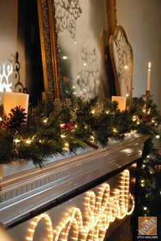 Ahhhh brings back my memories of Christmas' past! Classic Christmas Mantel: White Lights and Brass Accents, by Whitney Curtis of The Curtis Casa Fireplace Mantel Christmas Decorations, Indoor Christmas Decorations, Led Christmas Lights, Christmas Mantels, Christmas Past, Winter Christmas, Christmas Ideas, Christmas Stuff, Holiday Ideas