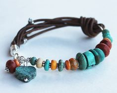 Reserved for Sharon Colorful leather bracelet - Sundance Style turquoise and coral bangle bracelet