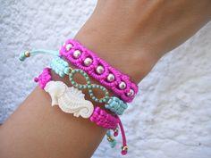 Handmade bracelets, color is in!/ pulseras hechas a mano, el color esta de moda! Madeincolombia