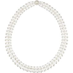 18 2-Row Multi Freshwater Cultured Pearl Necklace in Sterling Silver ($228) ❤ liked on Polyvore featuring jewelry, necklaces, pearl, white, sterling silver freshwater pearl necklace, sterling silver bead necklace, sterling silver necklace, sterling silver jewellery and sterling silver jewelry