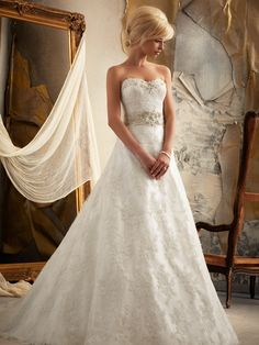 Sweetheart Full A-line Mori Lee Bridal Gown 1913|DimitraDesigns.com