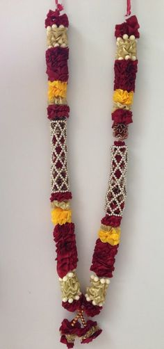 INDIAN BOLLYWOOD WEDDING GROOM BRIDE GARLAND JAIMALA HAAR WINE & GOLD HR13