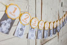 This listing is for an adorable monthly banner. This is a great way to celebrate your baby's first year. Each circle measures 5 1/4‰۝ and is made from two layers of cardstock with printed lettering. T
