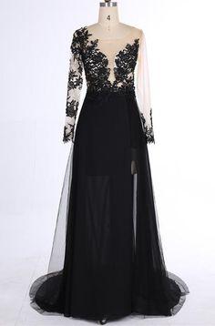 Mermaid Prom Dress,Black V-Neck Chiffon Sweep Train Evening Dress with Appliques,111043027 - Solodresses
