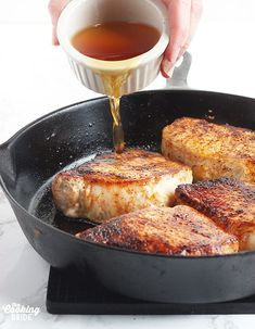 Maple glazed pork chops,seasoned with chili powder, cayenne, and maple syrup glaze, is an easy one pan meal ready in less than 30 minutes. Glazed Pork Chops, Pork Loin Chops, Quick Recipes, Quick Meals, Maple Syrup Glaze, Pork Chop Seasoning, Quick Easy Dinner, One Pan Meals, 30 Minute Meals