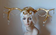 golden stag headdress art noveau gilded deer antlers chandelier