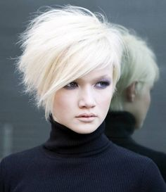 Short Haircuts Very Funky Hairstyles To Be More Fashionable- this could be smoothed down a bit..