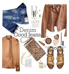 """rich denim"" by nataskaz ❤ liked on Polyvore featuring Envi, Dsquared2, Armani Collezioni, Bottega Veneta, NYX, Boohoo, Too Faced Cosmetics, Eve Lom, women's clothing and women"
