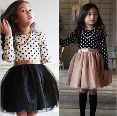 Frete grátis vestido de inverno de manga comprida 2016 New meninas roupas Polka Dot vestidos para meninas da princesa festa traje roupa dos miúdos