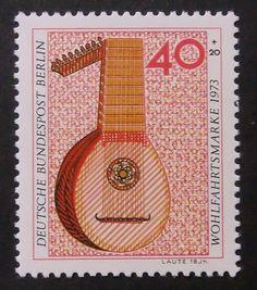 Laute 18Jh Lute Wohlfahrtsmarke 1973 Music by PassionGiftStampArt