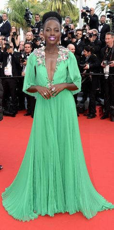 """Lupita in a Gucci gown, #Chopard jewerlry at the Opening Ceremony & """"La Tete Haute"""" Premiere - The 68th Annual Cannes Film Festival #Cannes2015"""