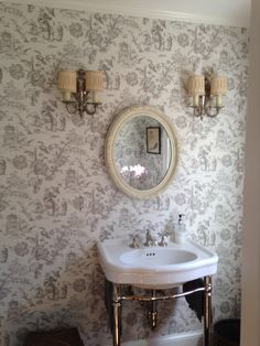 Asian Toile wallcovering in powder room