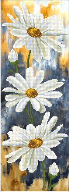 Haft / nici do haftowania / Beauty and Creativity (Ukr.) / Panoramiczny (częściowe) Haft / - Zestaw do haftu 1 Daisies (Rumianek 1) 51.115 (Beauty i kreatywność (Ukraina))