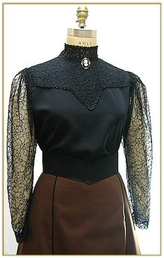stitch Lace Blouse Styles, Steampunk Vest, Embroidered Lace, Turtle Neck, Stitch, Sweaters, Fashion, Moda, Full Stop