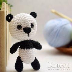 Little Panda Bear. Pattern by Tatyana Matyushkova. Made by Kneat Handicrafts. Stitch Head, Little Panda, Red Felt, Amigurumi Toys, Panda Bear, Single Crochet, Handicraft, Free Crochet, Free Pattern