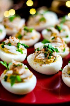 Creole Crab-Stuffed Deviled Eggs. These party appetizers feature the flavors of zesty Creole remoulade and sweet lump crab meat! | hostthetoast.com