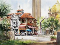 marvinchew.com | GALLERY  A blue umbrella at Sultan Gate, Singapore by Marvin Chew  #watercolor, #watercolour, #cityscape