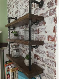 German Smear brick wall with industrial pipe shelving
