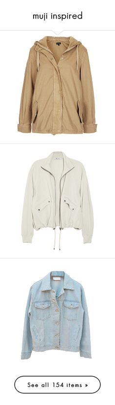 """""""muji inspired"""" by sleepyseas ❤ liked on Polyvore featuring outerwear, jackets, coats, coats & jackets, sand, light weight jacket, cotton jacket, short jacket, brown cotton jacket and topshop parka"""