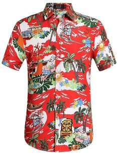 c9467b44ecc Men s Christmas Santa Claus Party Casual Tropical Hawaiian Shirt  XmasSale   FreeShipping