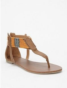 Ecote Beaded Ankle Wrap Sandal, $39