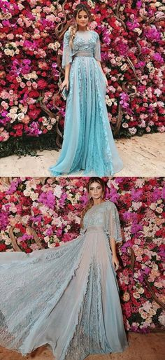 unique light blue chiffon prom dresses with sleeves, modest 3/4 sleeves party dresses with lace, elegant a line evening gowns with ruffles P2611